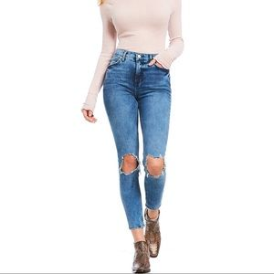 Free People • High Rise Busted Knee Skinny Jean